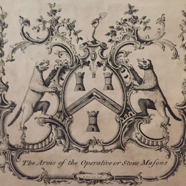 Frontispiece engraved by Robert Scot - The Arms of the Operative or Stone Masons.