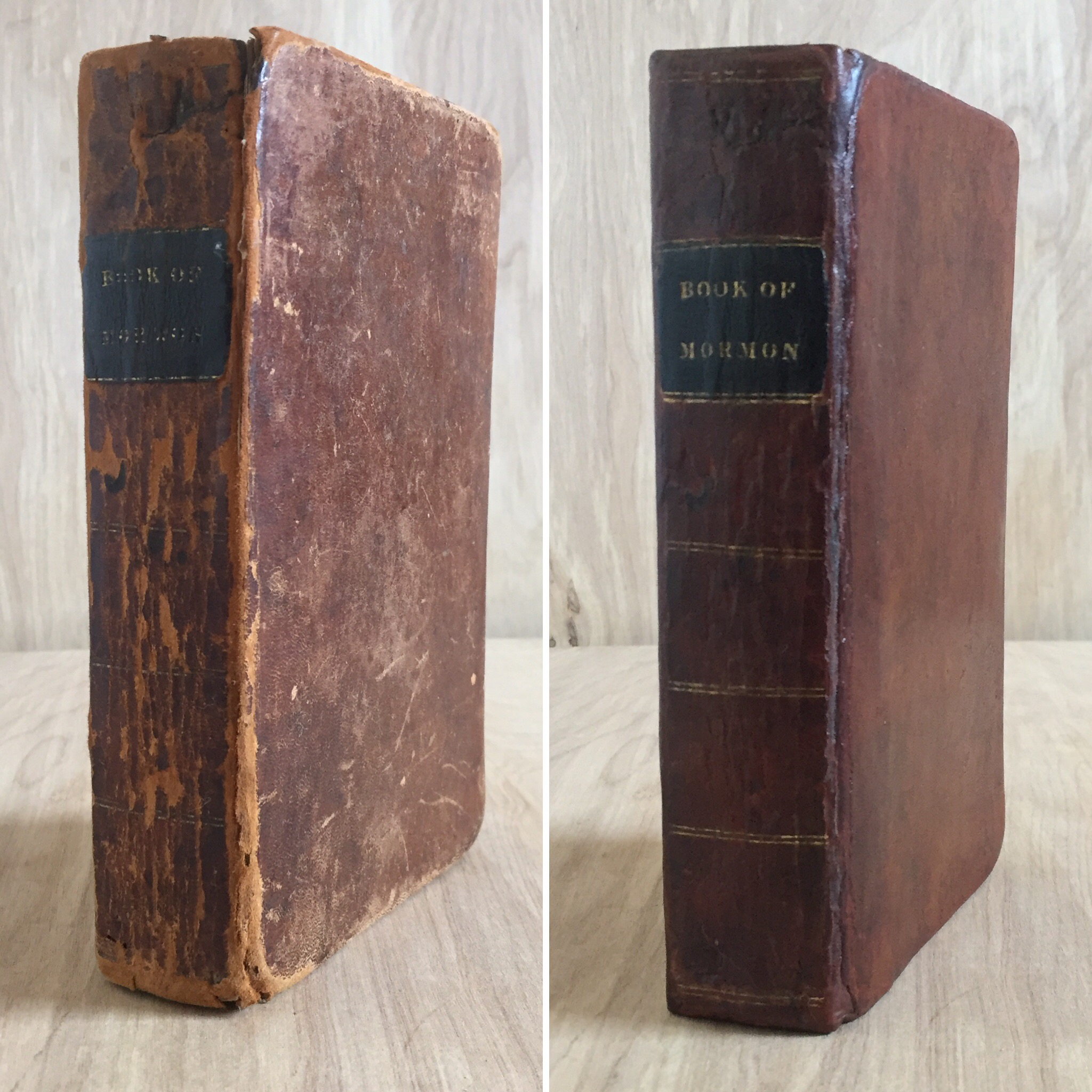 1830 First edition Book of Mormon before and after restoration.