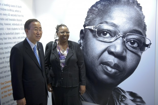 """Secretary-General Ban Ki-moon with Awa Marie Coll-Seck, Executive Director of the Roll Back Malaria Partnership, at the opening of the """"Champions against Malaria"""" exhibit celebrating World Malaria Day, at UN Headquarters. Photo credit: UN Photo/Mark Garten"""