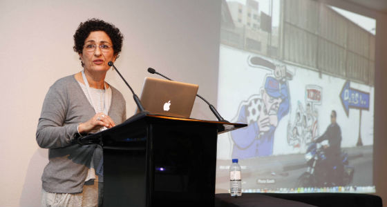 Cairo-based historian and artist, Huda Lufti, delivers the second reflection on media's powerful role in recent and current political upheavals. (Photo courtesy Art Dubai)