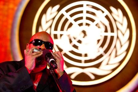 Stevie Wonder performs at the International Jazz Day Concert. Photo credit: UN/JC McIlwaine