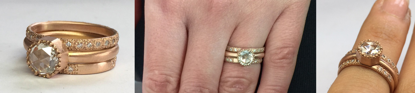 18KT Rose Gold Engagement Ring Set | 0.59ct Rose Cut White Diamond | White Diamond Accents