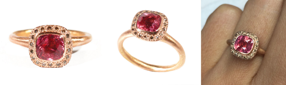 18ct Rose Gold | Pink Ceylon Sapphire (approx 2ct cushion cut & unheated) | Champagne Diamonds