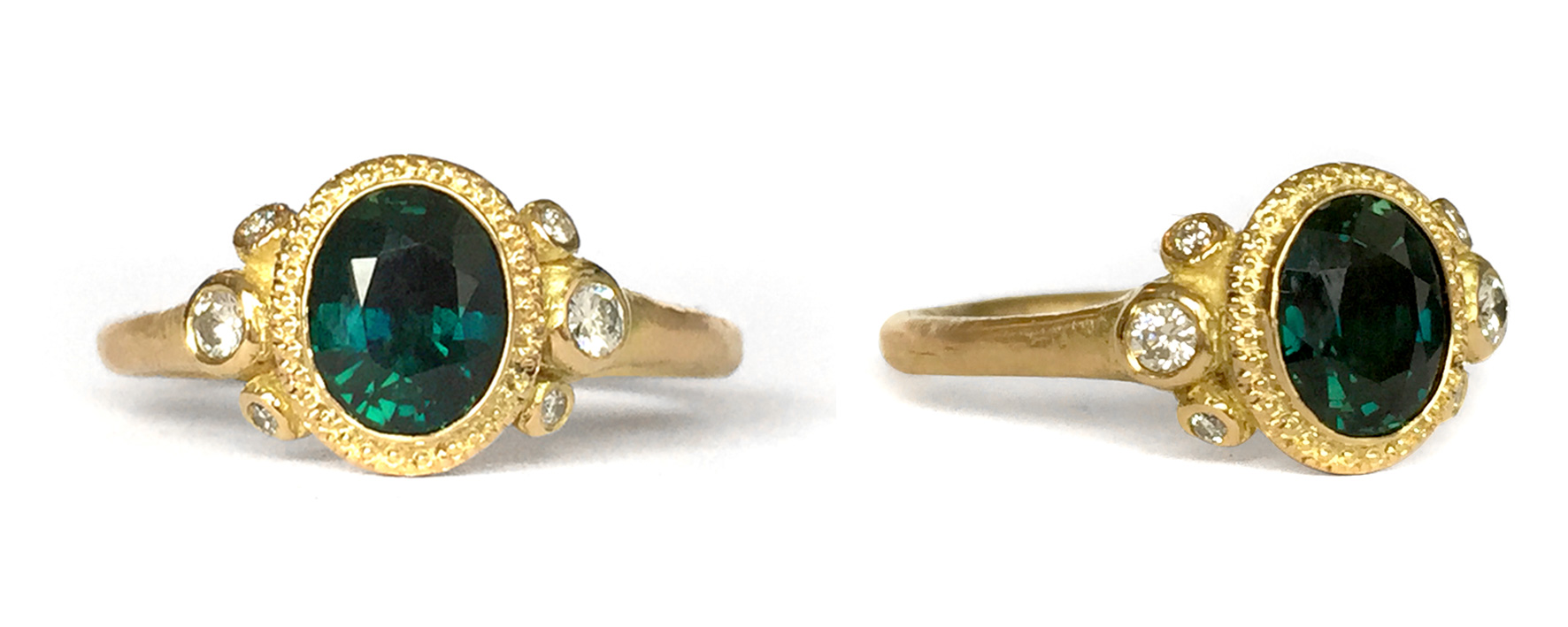 18ct Yellow Gold | Blue/Green Sapphire (approx 1.2ct Oval) | White Diamonds