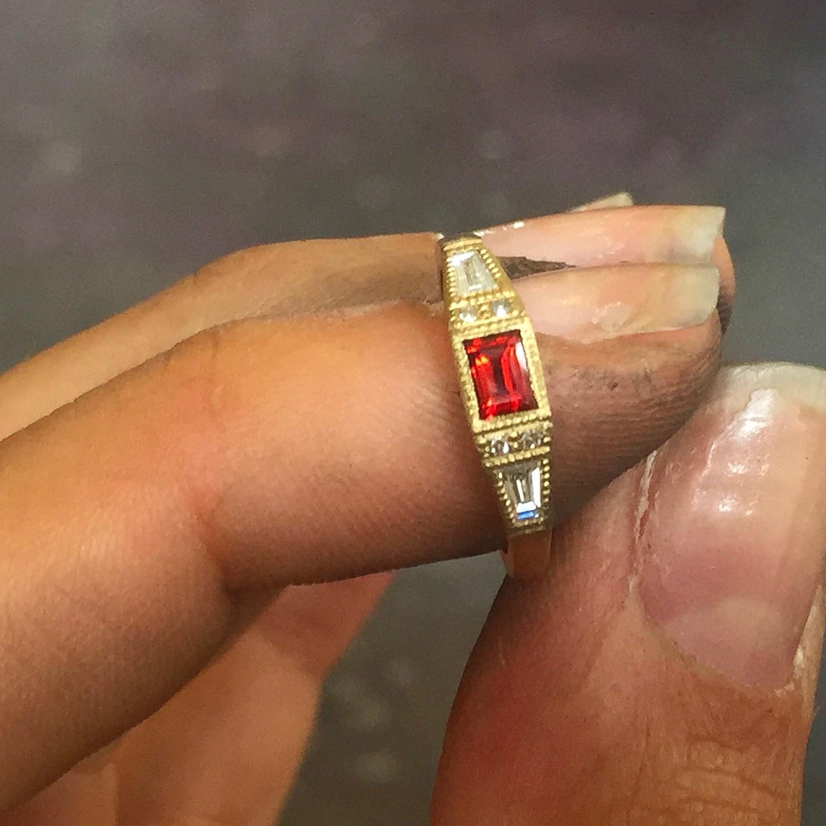 Garnet & Diamond Deco Ring