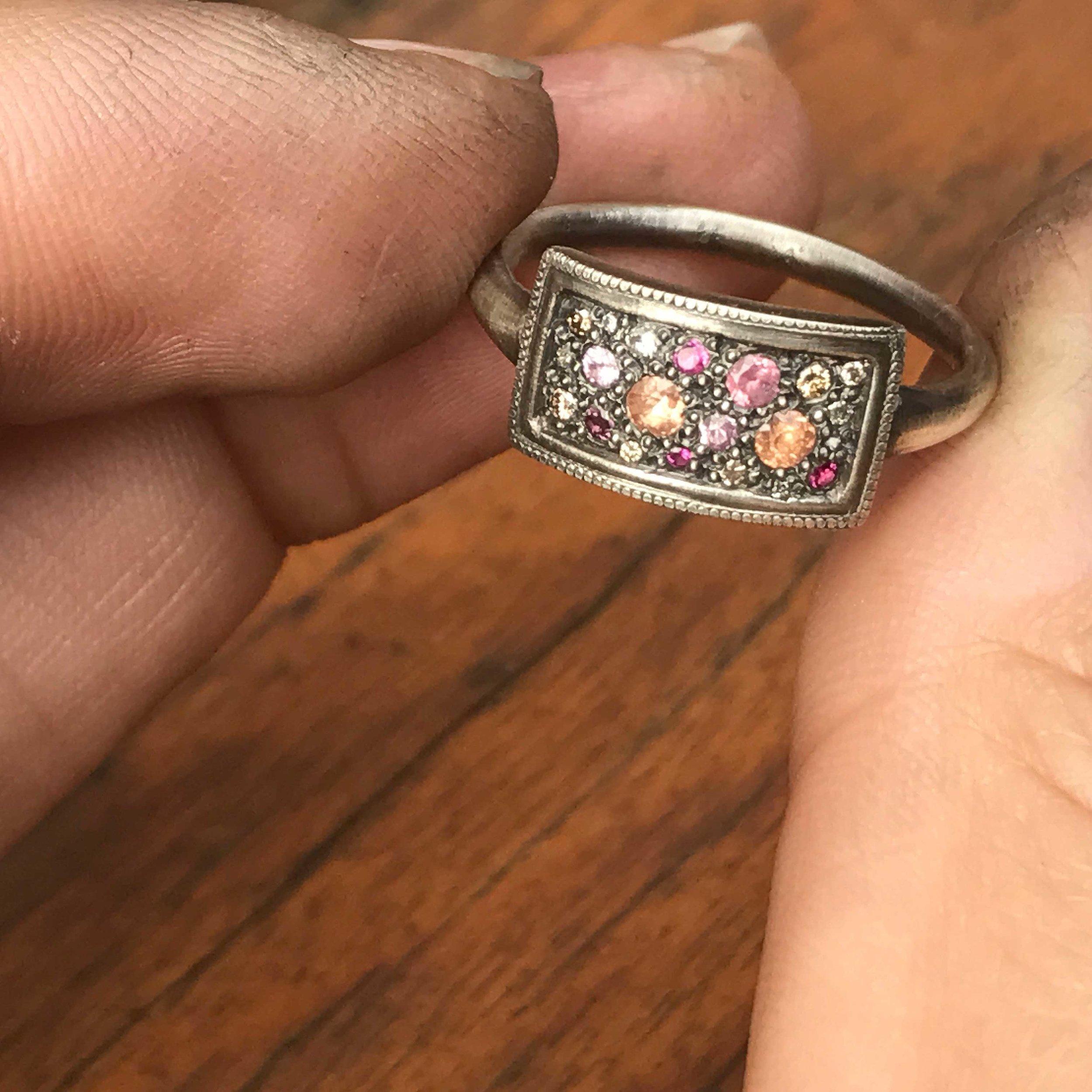 Sapphire & Diamond 'Tych' Ring