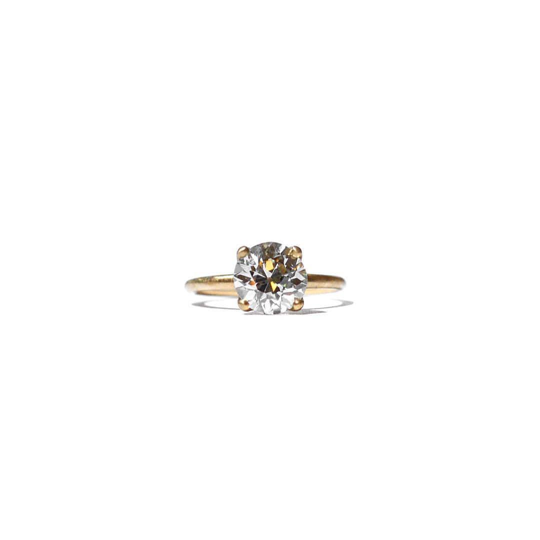Old Cut Diamond & Gold Engagement Ring Hand Crafted