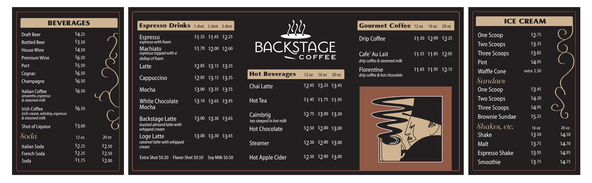 Backstage Coffee - Menu Sign Design