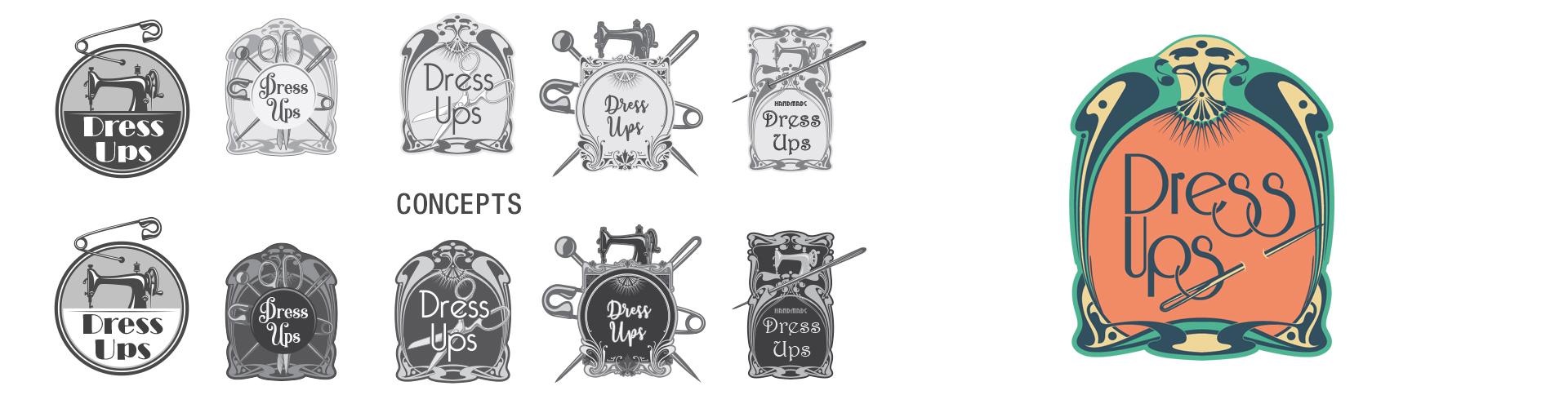 Dress Ups Logo - a costume seamstress startup company