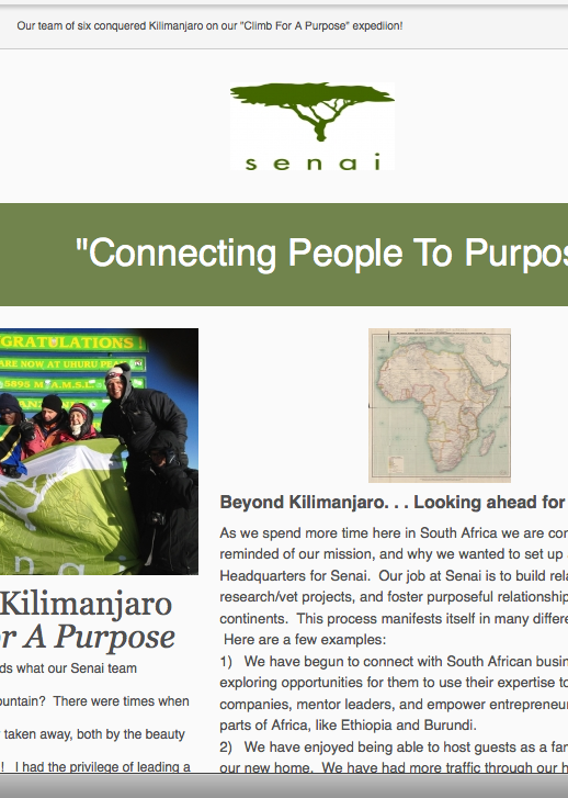 Oct 2012 Newsletter Kilimanjaro