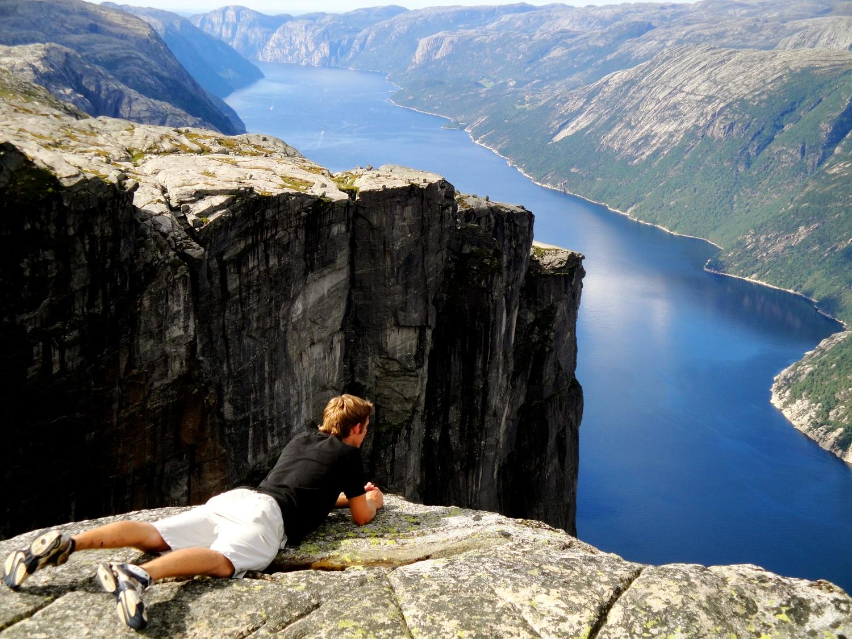 Looking over the edge in Kjerag, Norway (2010)