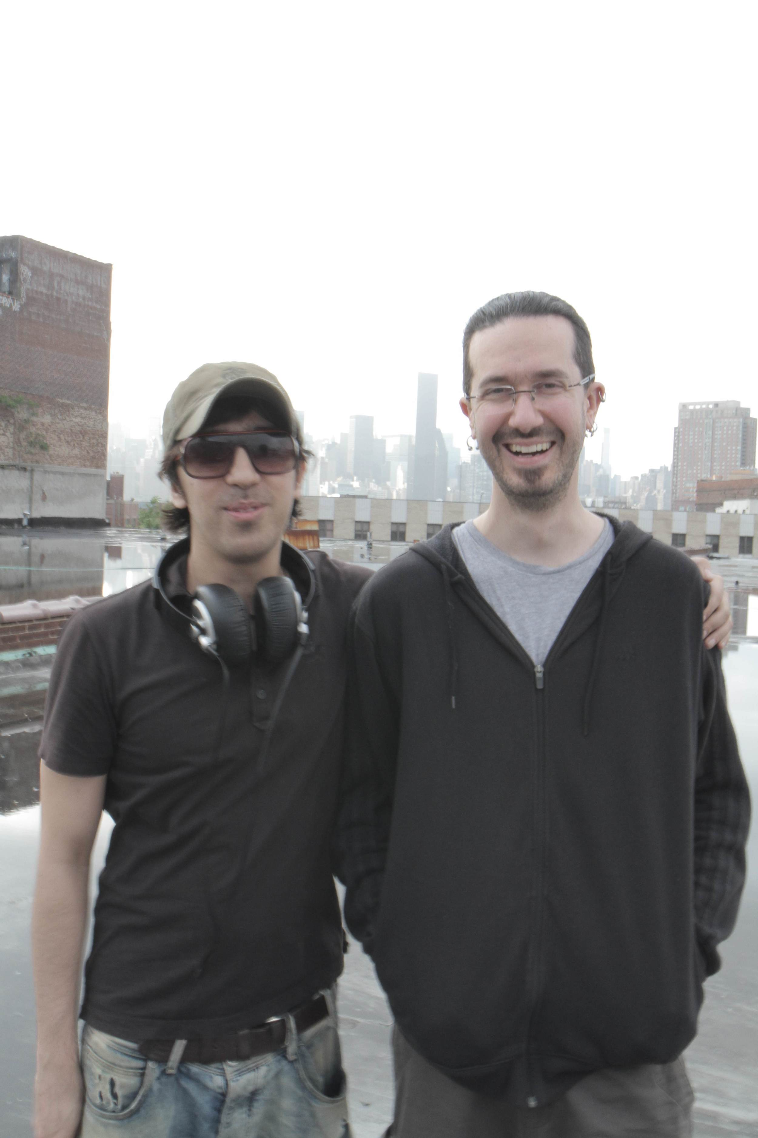 Afternoon on the roof: K and Julien in Greenpoint, Brooklyn.