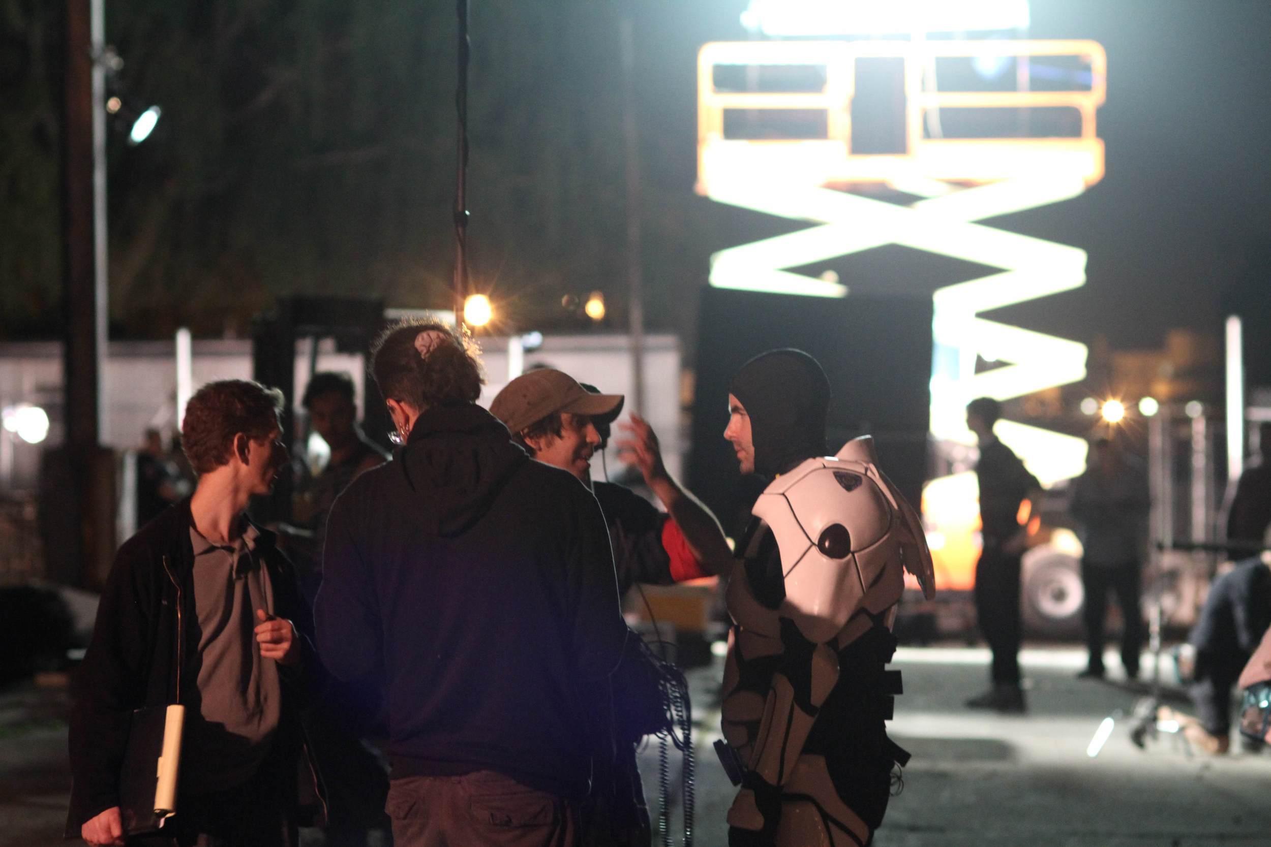 On the set of the Bodyjacker short.