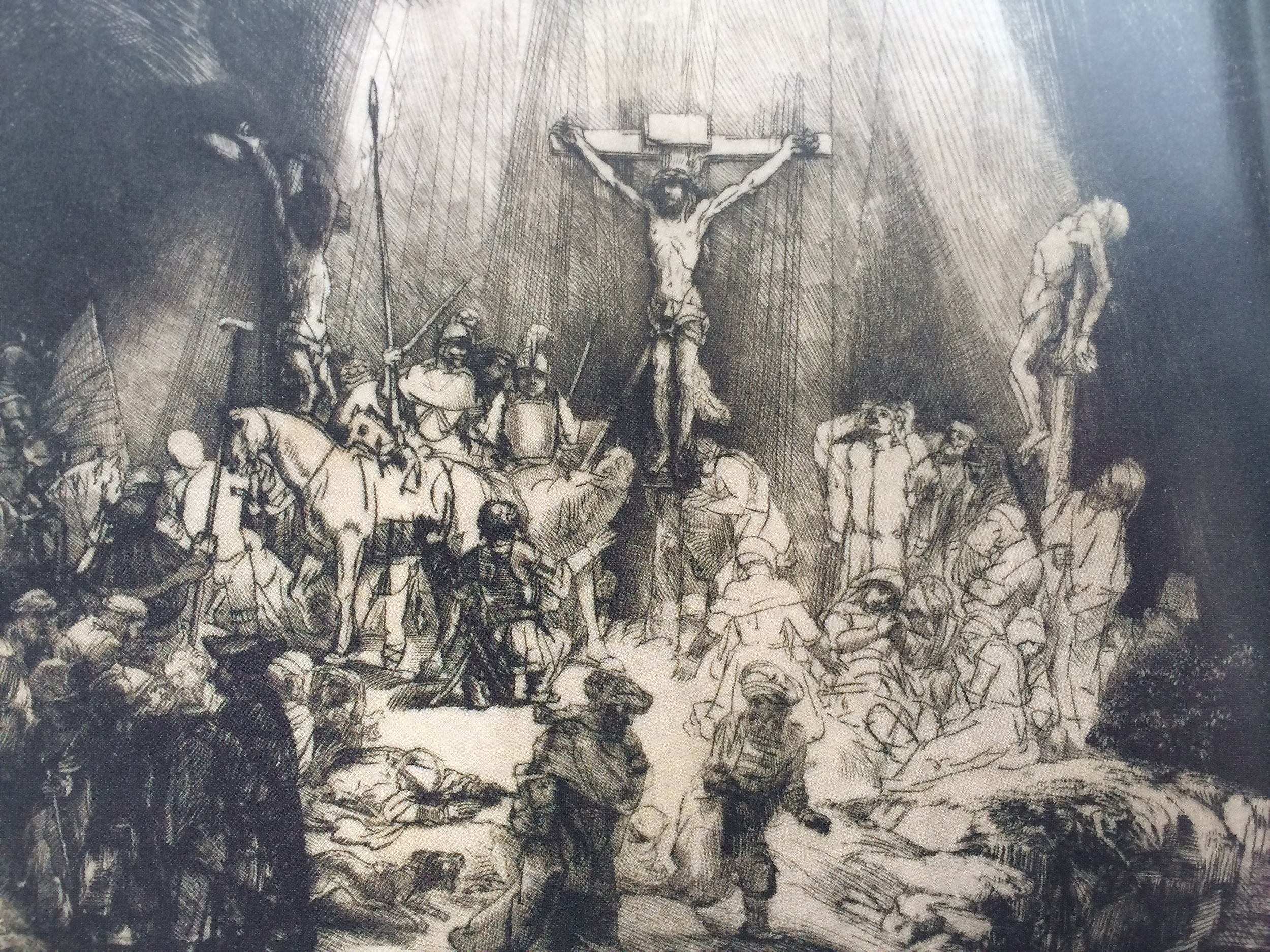 The Three Crosses, 1653, Drypoint, 1st state of 5