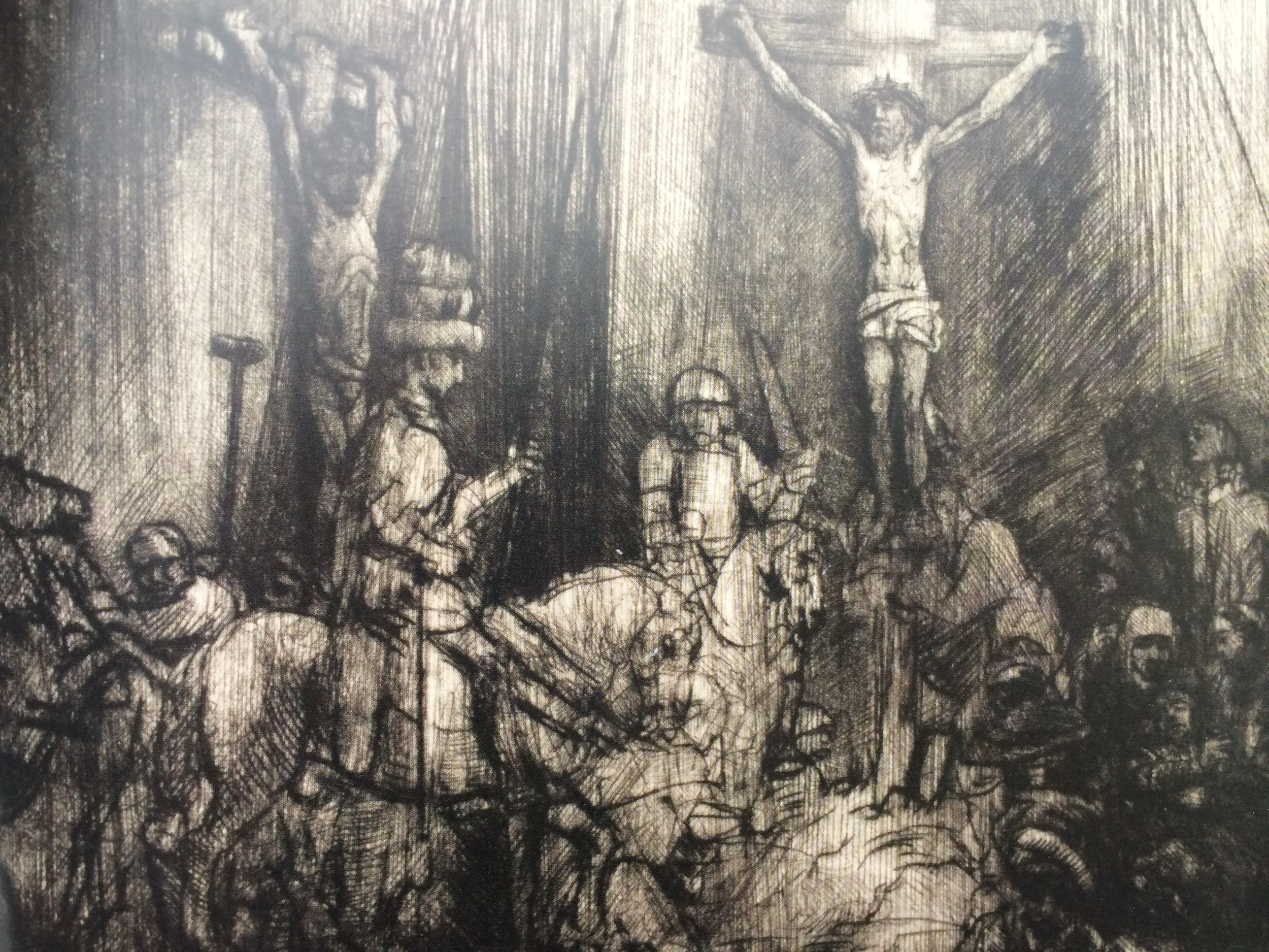 The Three Crosses, 1653, Drypoint, 4th state of 5