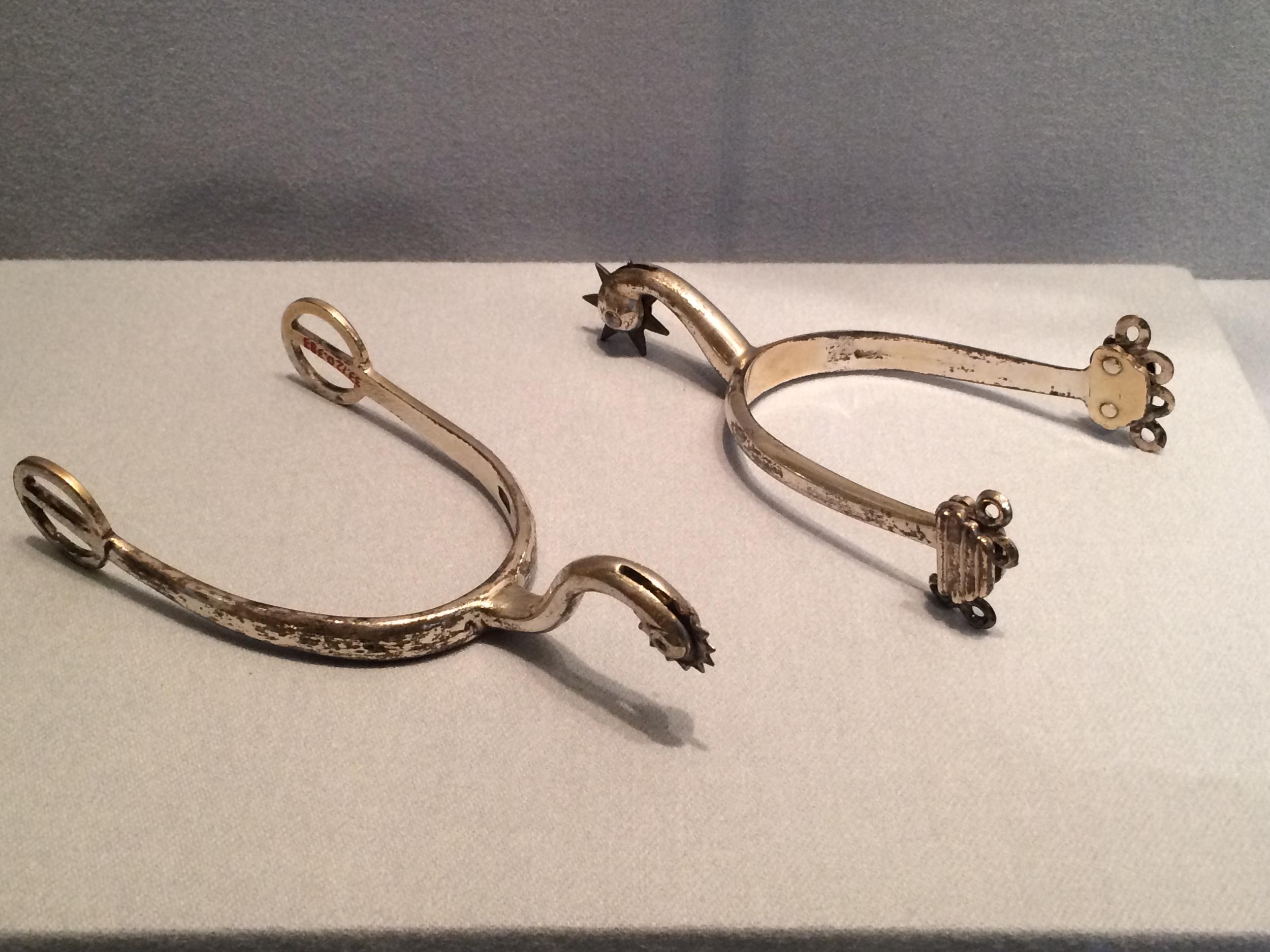 Paul Revere's spurs on display at the Metropolitan Museum of Art.