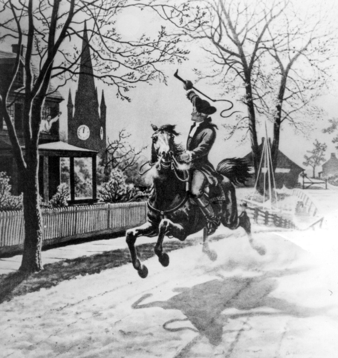 20th century depiction of Paul Revere's midnight ride.