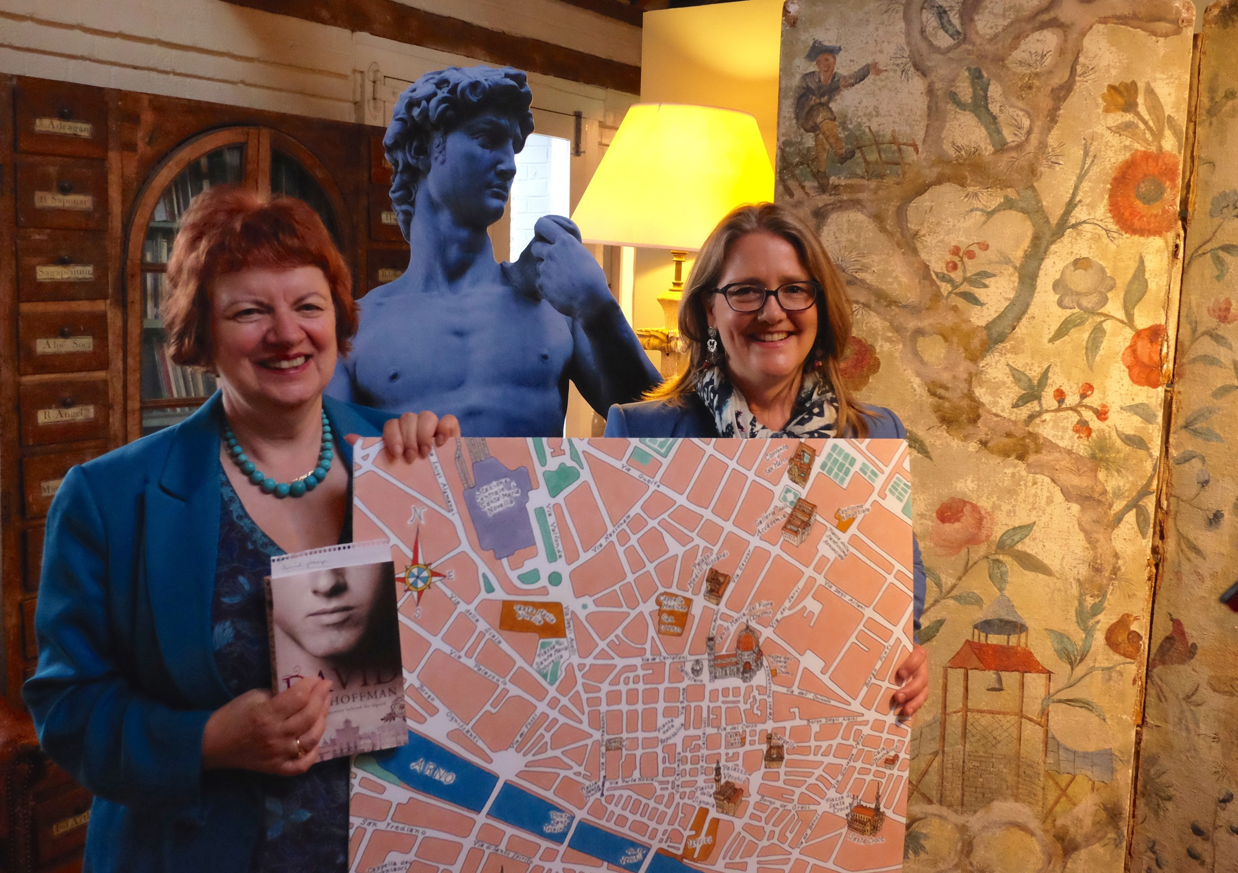 Mary Hoffman and Sarah Towle at the London Launch Party for In the Footsteps of Giants.
