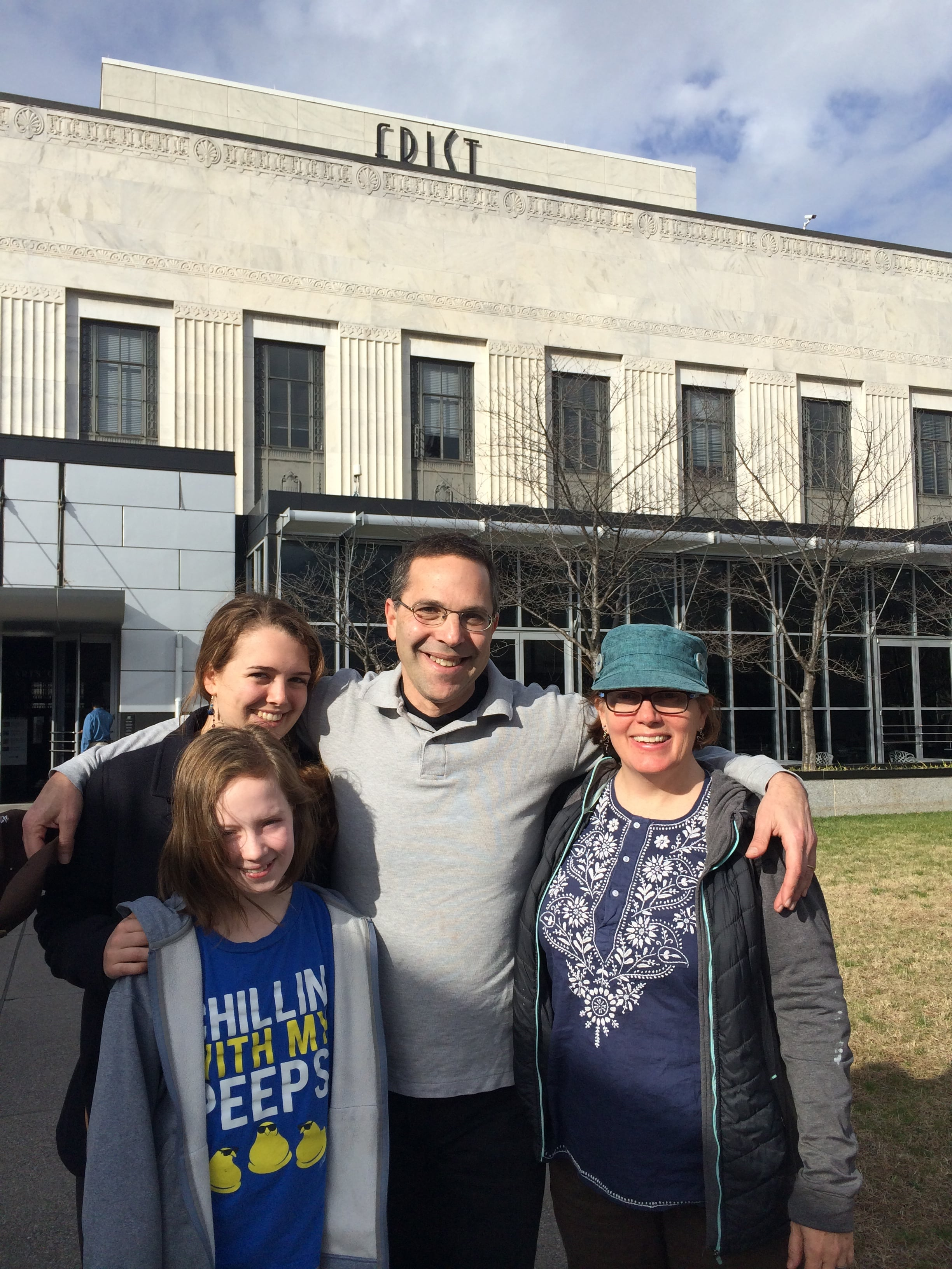 Lily, Jimmy, my sister and niece join me and Michelangelo at the Frist Center for the Visual Arts, Nashville, TN, Dec 2016.