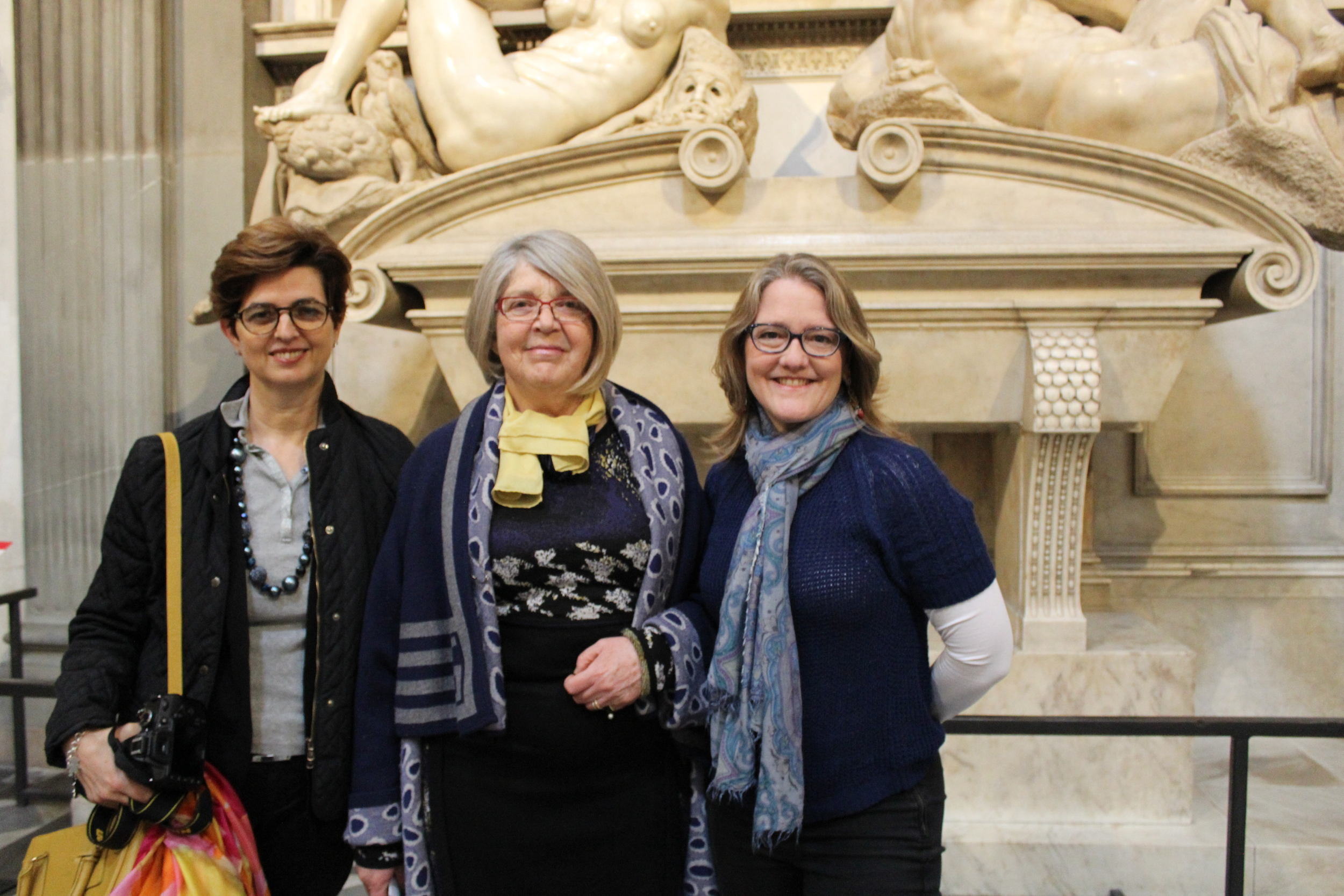 In the Medici Chapel New Sacristy with Director, Monica Bietti (center) and Paola Angelini of Guided Florence Tours (left).