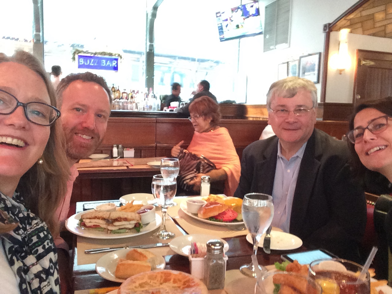 Sarah, me, Frank Totaro, and Deb Shapiro meeting while eating, Dec 2015.