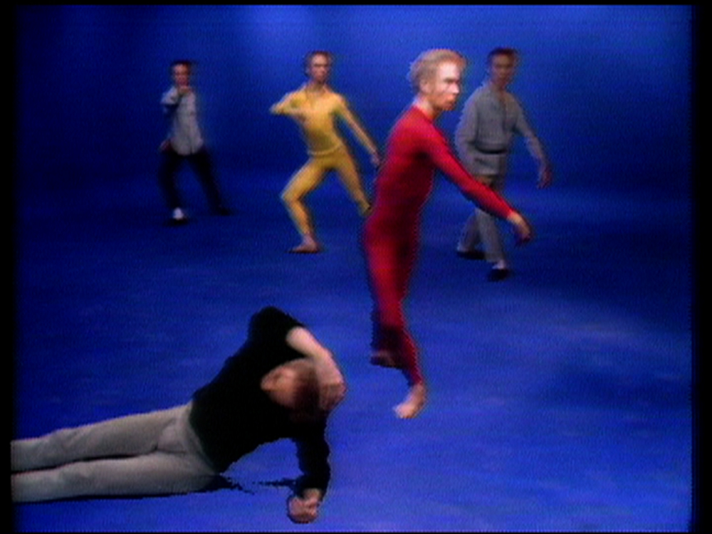 Charles Atlas and Merce Cunningham                         Blue Studio: Five Segments (video stills) , 1975–76  video, color, sound, 15:38 minutes  Courtesy of Charles Atlas and Vilma Gold, London