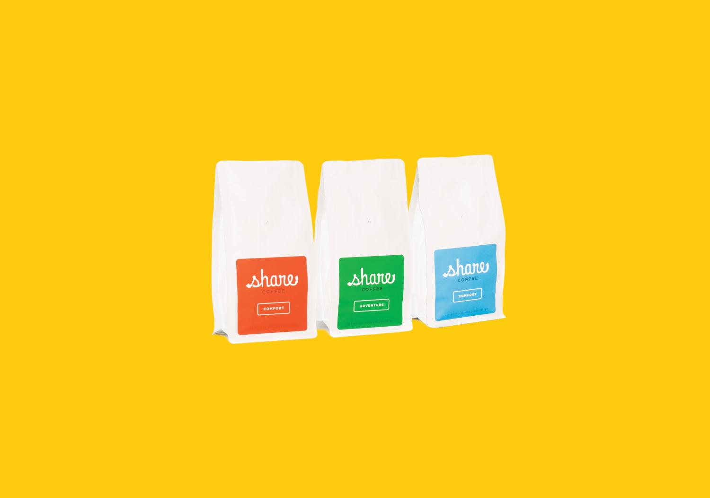 Share Coffee:  Branding, Web Design, Packaging