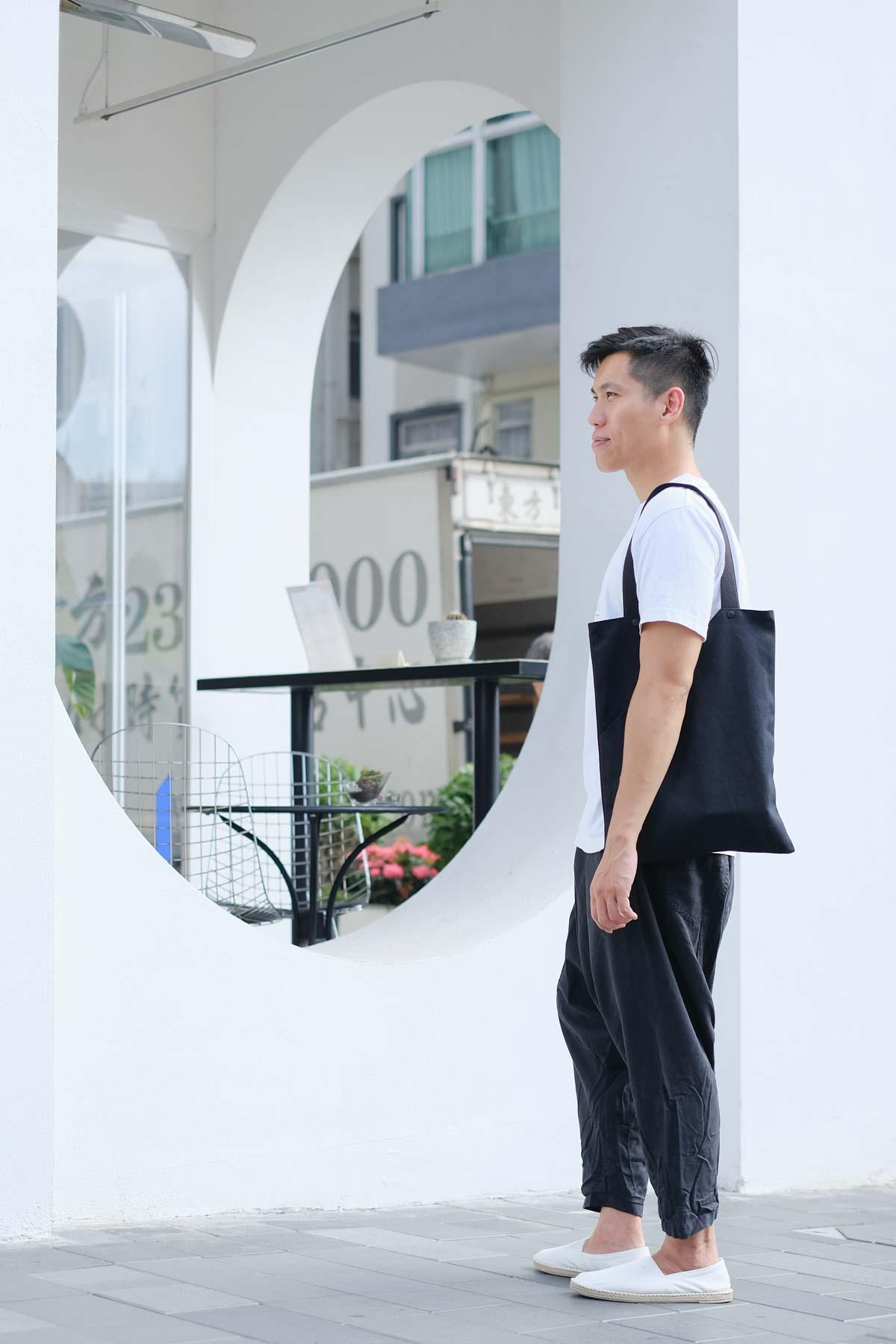 Gary is wearing  NOTCH bag in Black