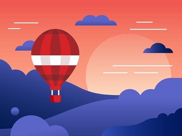 Balloonin' for @linuxacademycom  #illustration #vector #gradient #vectorart #hotairballoon #art