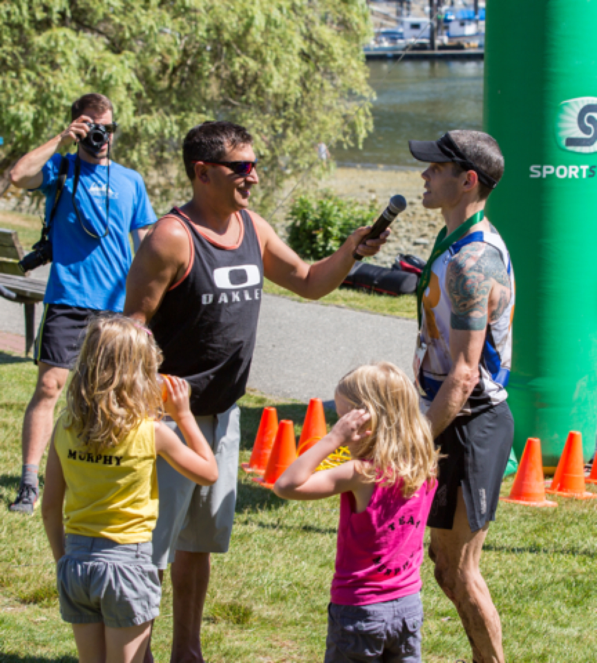 at the finish with my girls and Dave - photo by Jay Klassen