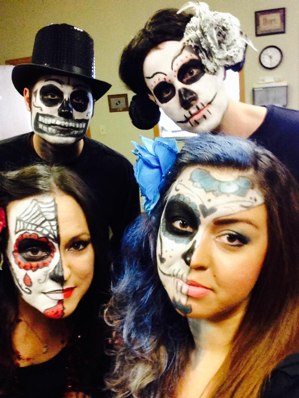 The Omaha branch in full face paint: Jake, Ben, Buffy & Breanna