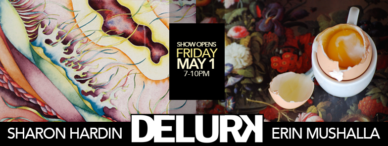 Delurk Gallery's May exhibit will feature two soul-gazingly, beautiful shows: the precise, abstract and biological watercolor works of  Sharon Hardin , and the illuminating, painterly photography of  Erin Mushalla .