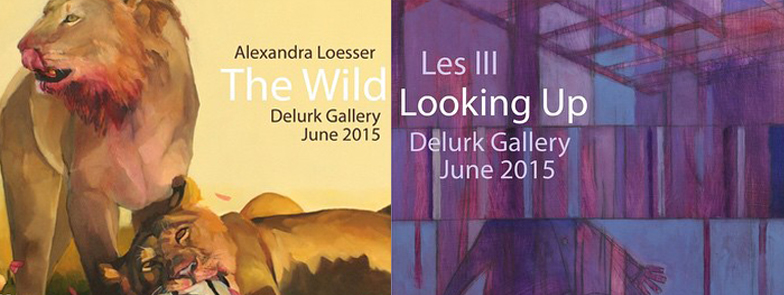 """Our June exhibition will feature two shows: """"The Wild"""" by Alexandra Loesser + """"Looking Up"""" by Delurk's own Les III. Join us for the Opening Reception Friday June 5, from 7-10pm!     Les III ~  Looking Up      """"Disco clouds serve as thought provoking atmosphere for us to get our act together, move forward and keep 'Looking Up'"""". - Les Caison III     In all of his works Les Caison III adds a little something something. Yeah, that word is repeated twice. That's my point; Les puts just a touch more in his art than you'd expect. Whether you choose to see it or not, it's there. Maybe you will see it with time. Perhaps your friend will point it out to you at the next exhibition.      Alexandra Loesser ~  The Wild      """"The wild is not kind, but it is just as it should be.""""    Alexandra Loesser's paintings are rooted in naturalism but convey a new romanticism as they are laced with refer  ences to a vanishing world. The series, """"The Wild,"""" draws inspiration from the animal kingdom and is meant to capture the dichotomy between these creature's connectedness and detachment to us and their own threatened environment. These pieces question the way we label wild animals as savage and dangerous simply because they are unfamiliar. Loesser feels that the truest form of beauty evokes a haunting quality, and it is from this perspective that she draws meaning for her paintings.  """"Animals have a real, untapped depth to them, and I want my subjects to have beating hearts."""""""
