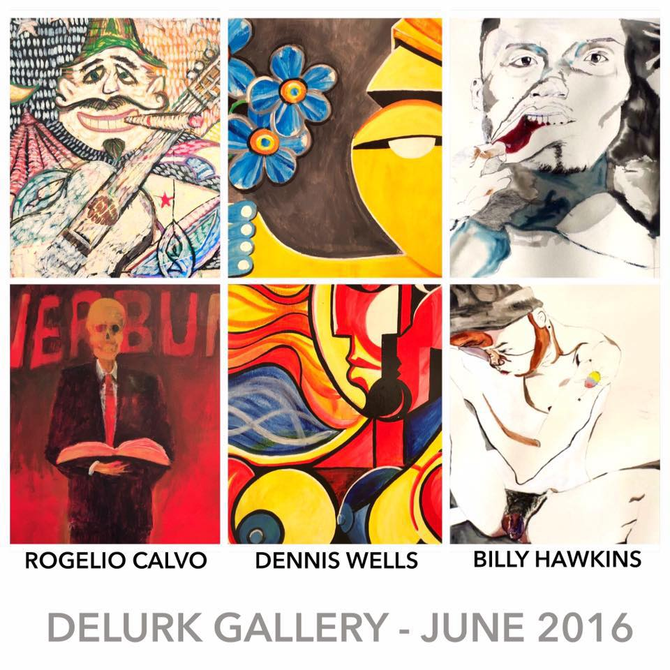 """Join us at Delurk during June to welcome our newest member, Dennis Wells! Check out his bold colorful paintings as well as some works from his """"In Their Own Words"""" series.    We're also featuring """"Linear Pursuit for Desire"""", work by Billy Hawkins, a recent graduate from UNCG (Painting BFA) who practices traditional art making such as drawing & painting mixing it with performance and video installation. He has attended the NY Studio school Drawing Marathon & is a past recipient of the UNCG Artistic Merit Award.    AND... the work of Statesville artist, Rogelio Calvo, as well as work by Delurk collective members!"""