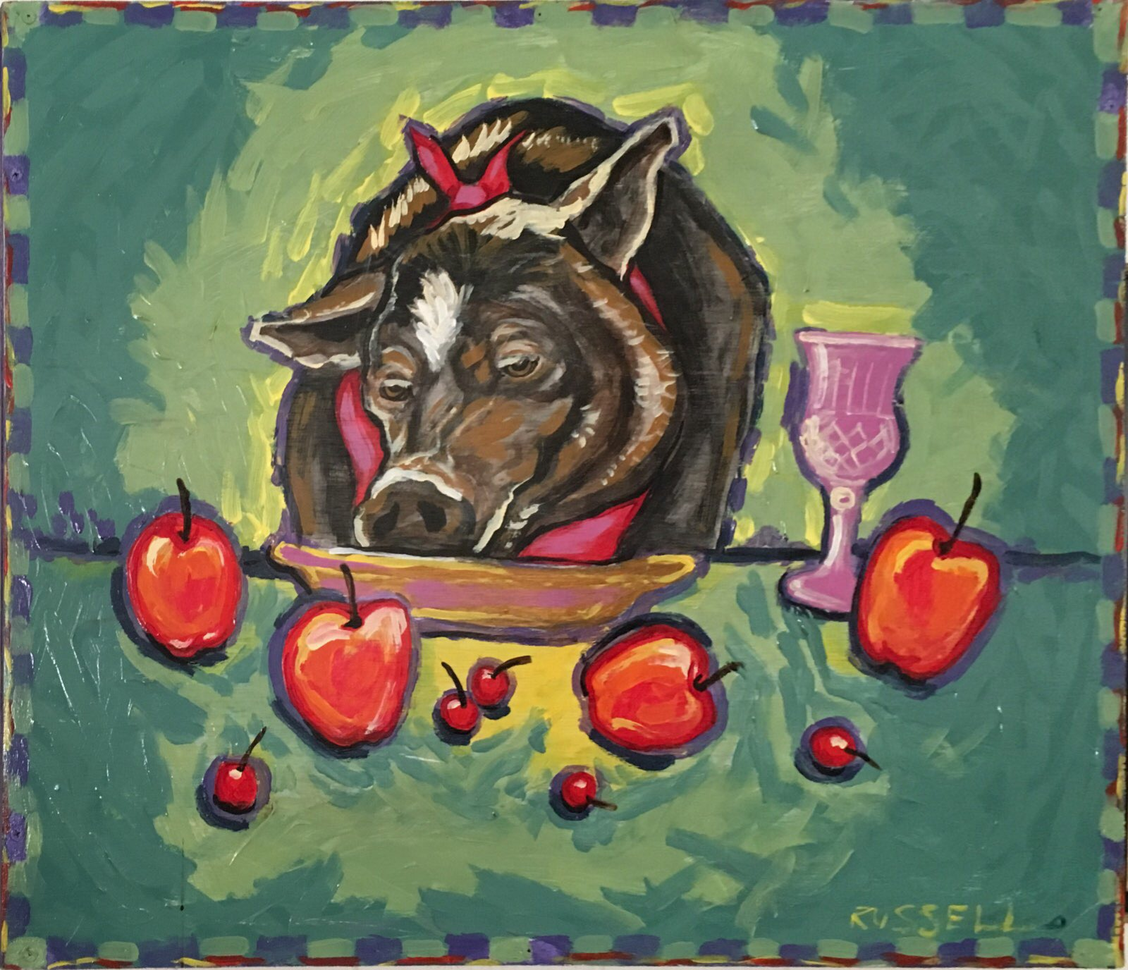 "Artist: Laurie Russell, ""Bertha at the Buffet"""