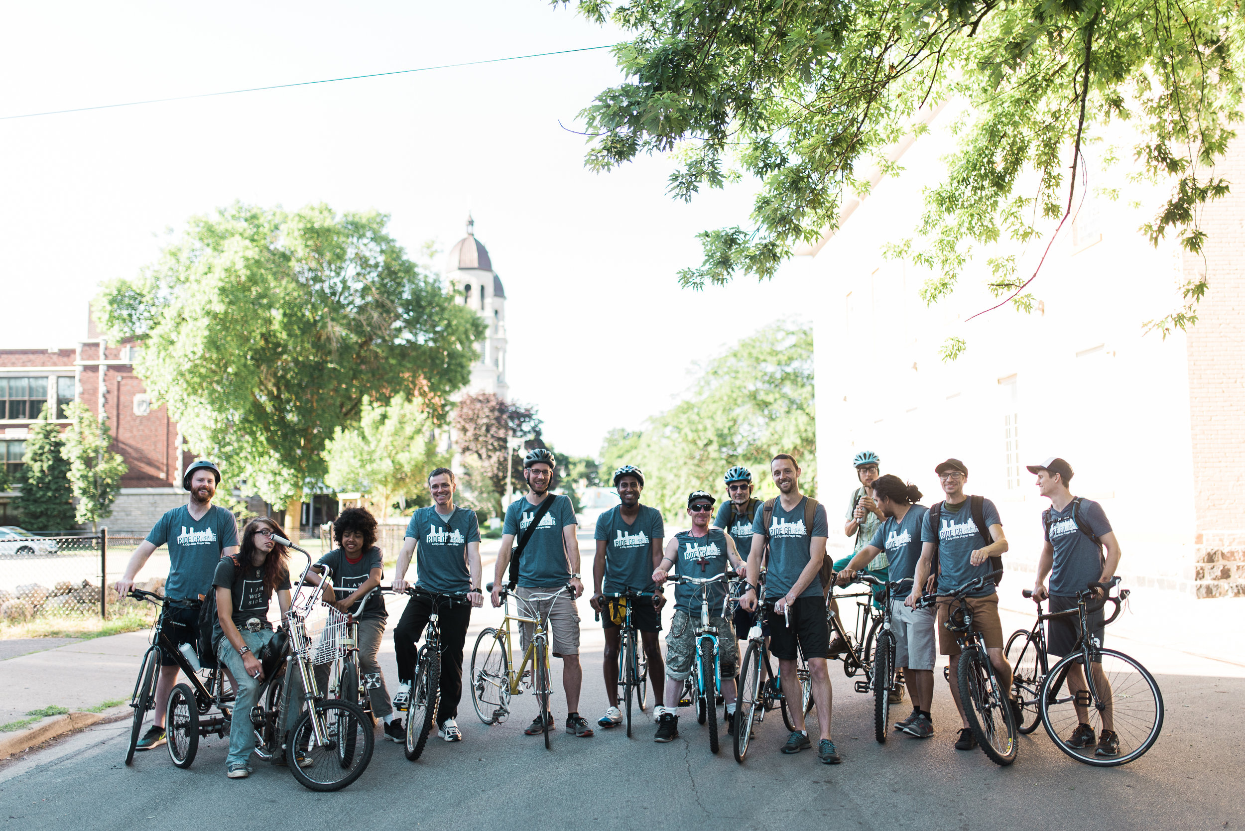 The RIDE GR prayer ride crew of 2017, made up of leaders and members of five different churches, including 5th Reformed Church, Good News Gatherings, Pentecostals of Kentwood, Gold Avenue Church, and the SBR.