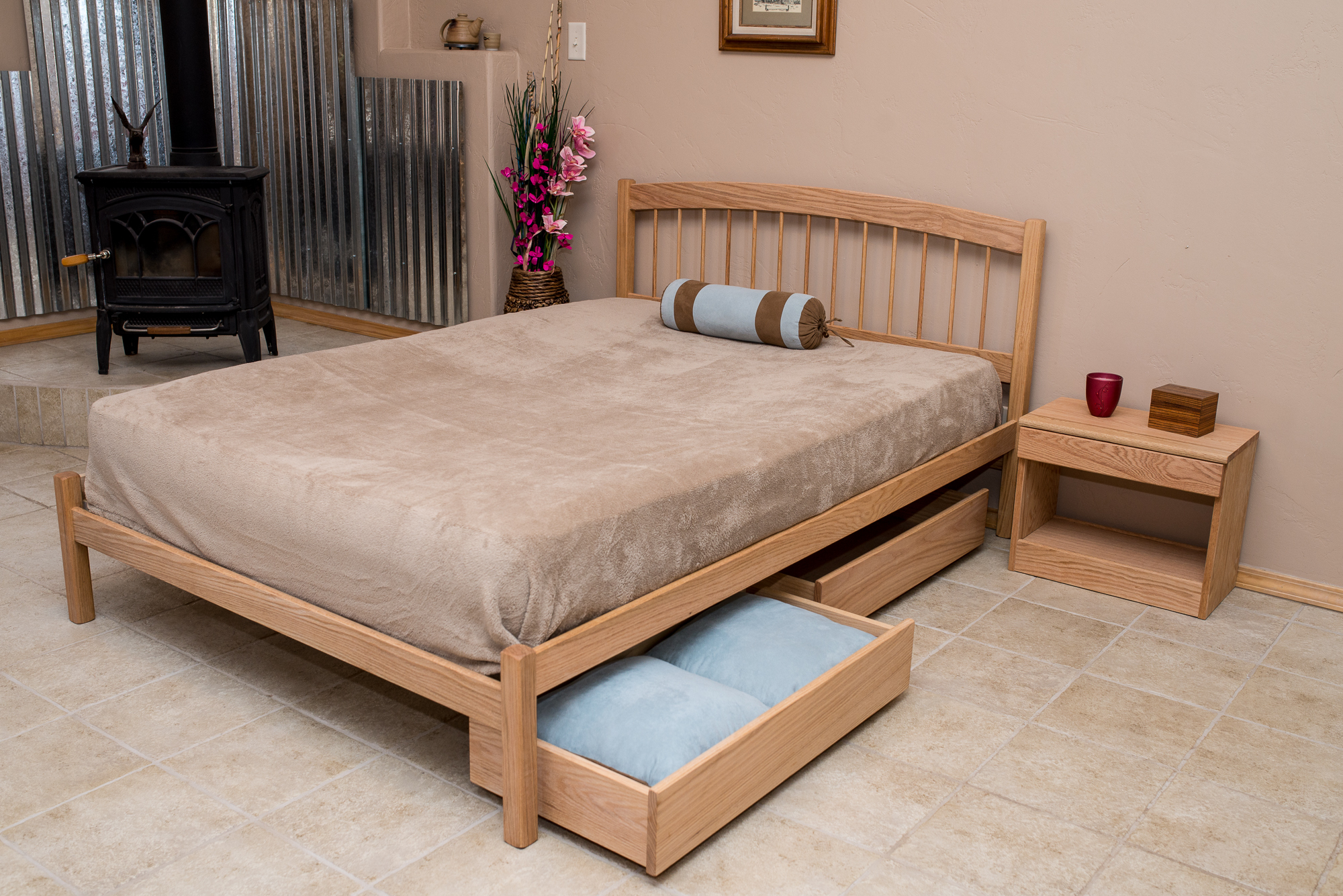 """El Paso Bed in Oak with """"Addition of """" Underbed drawer Set & Bed Table."""