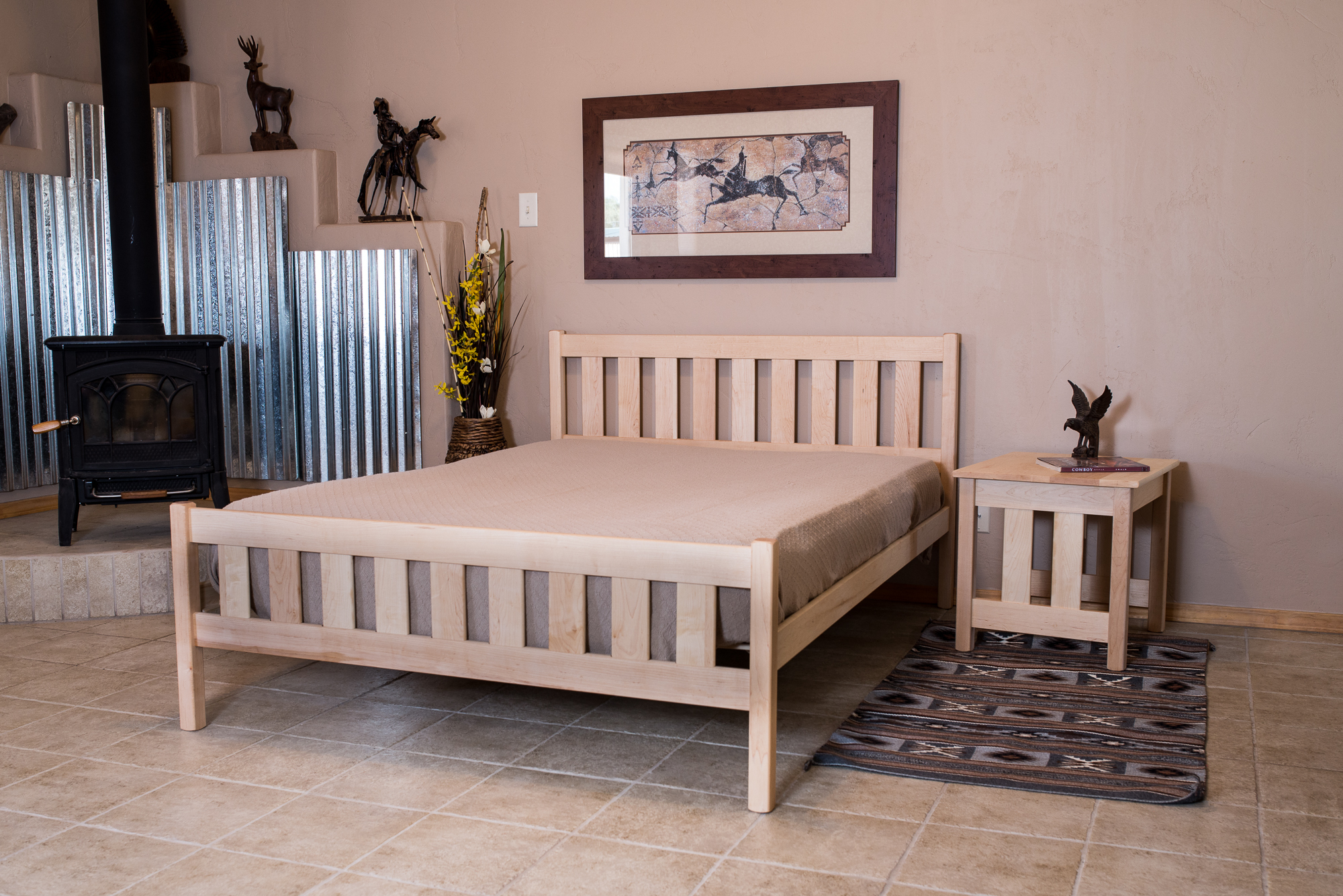 """""""Xtra Bed"""" Option for higher footboard shown in Maple"""