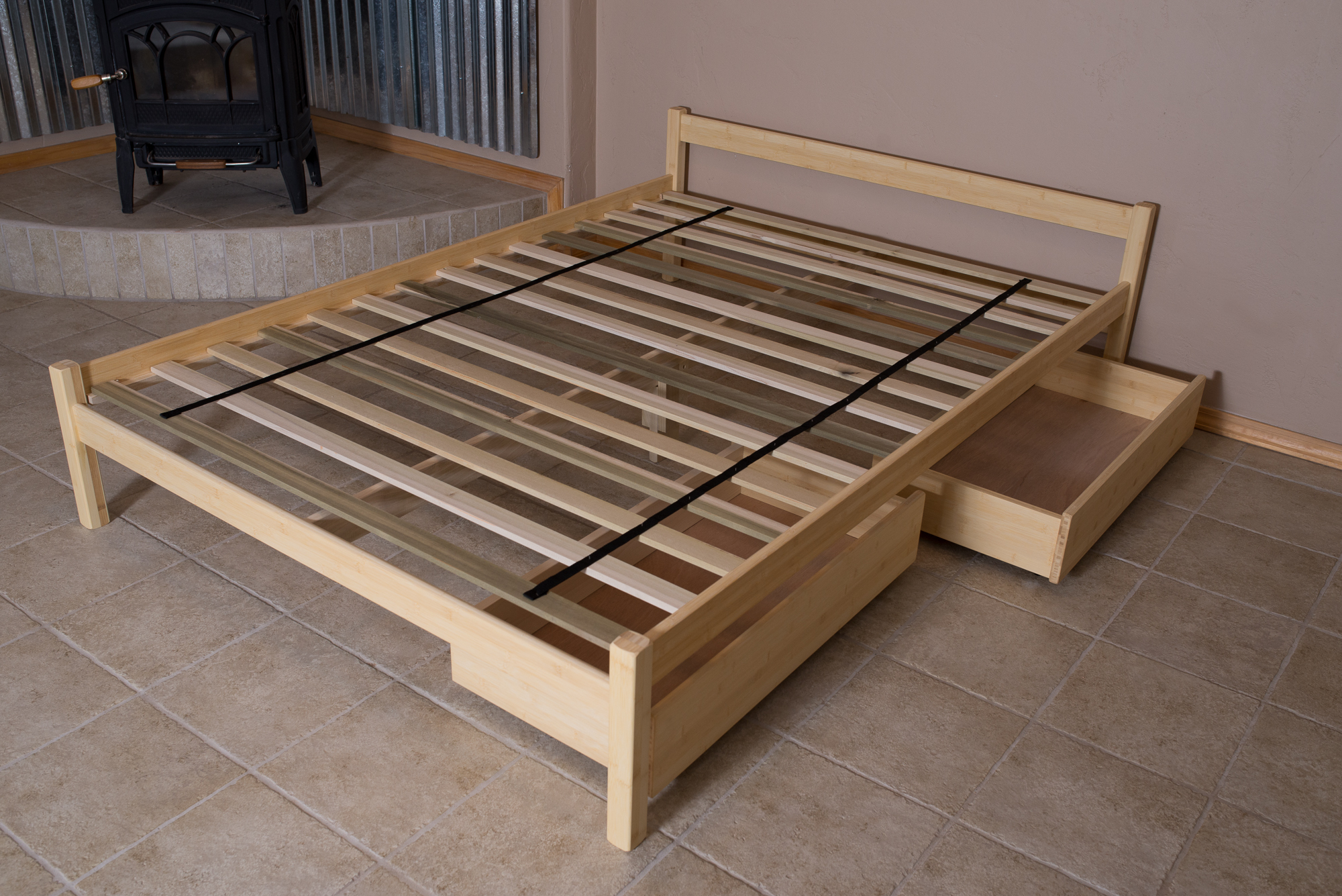 Bed frame with slats in place. Also shown with S.S.U.B. under-drawers.