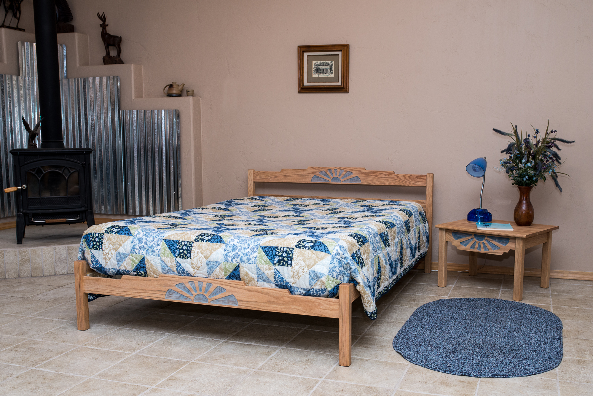Placitas end table with Placitas Bed. Shown with blue sunburst - may order natural sunburst.