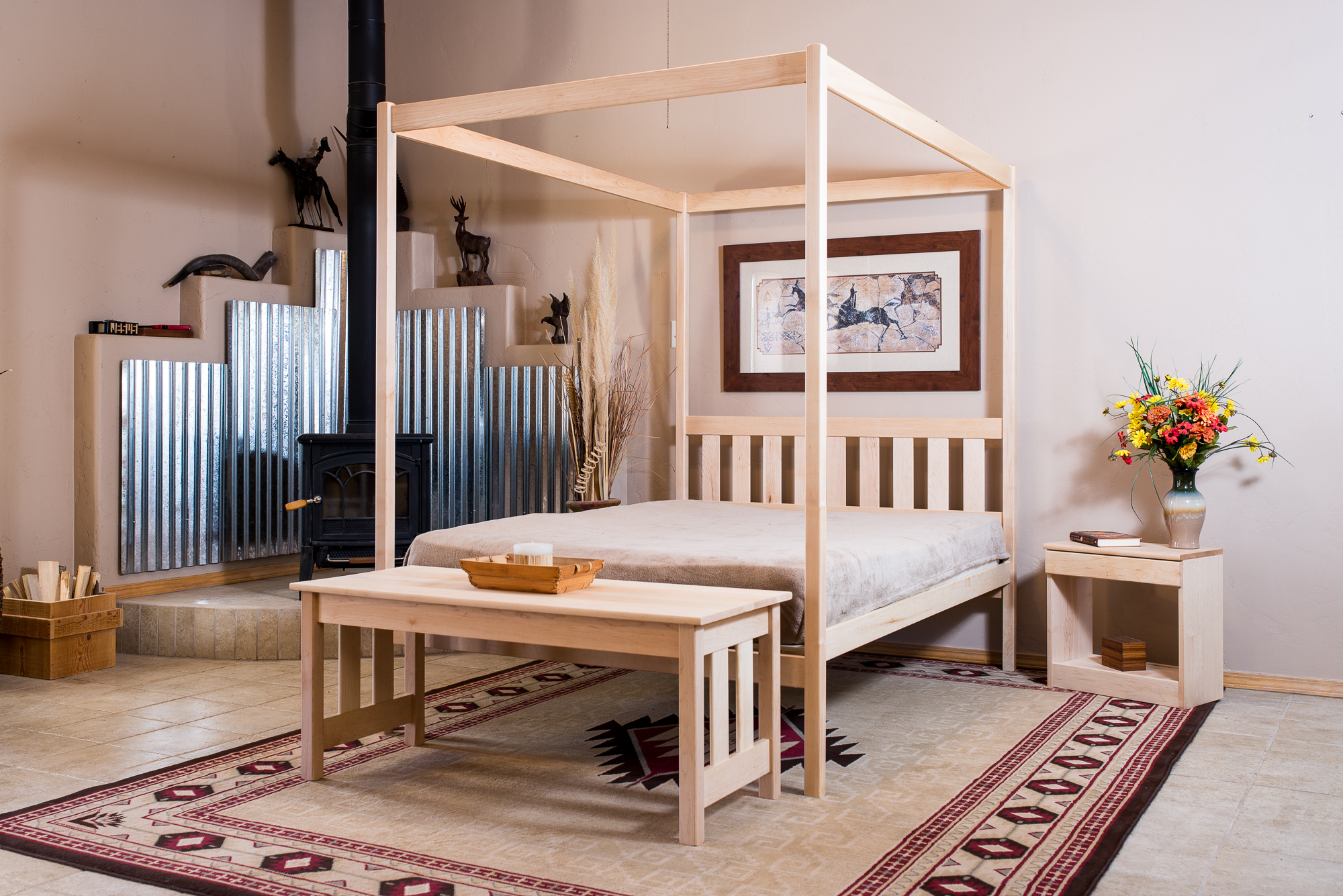 "This   4-Poster bed is shown with the Mission headboard and with a   Mission Coffee Table  .  Also included is the 16""   Bed Table with a drawer.  This bed table is also available in a 20"" height."