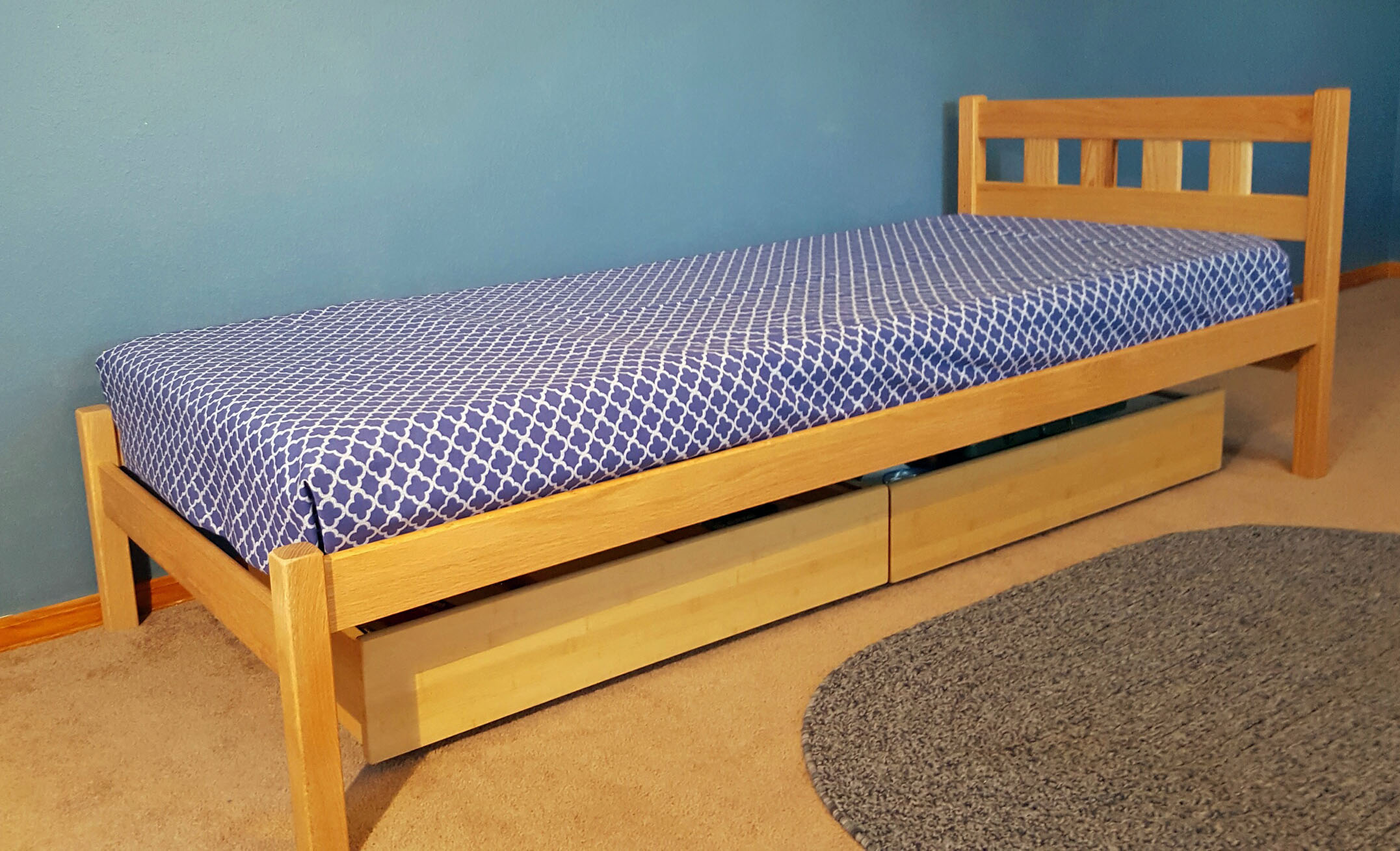 "COT SIZE OAK MISSION BED WITH 28"" LEGS - SHOWN WITH OPTIONAL UNDERBED DRAWERS."