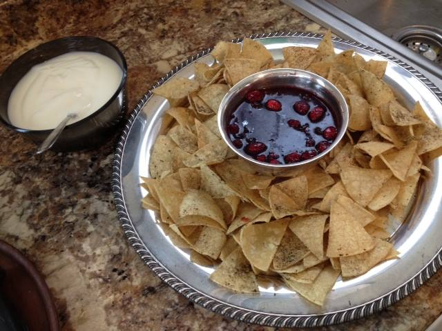 Shown, TSL Beignet CHips & Cranberry sauce, available November to February.