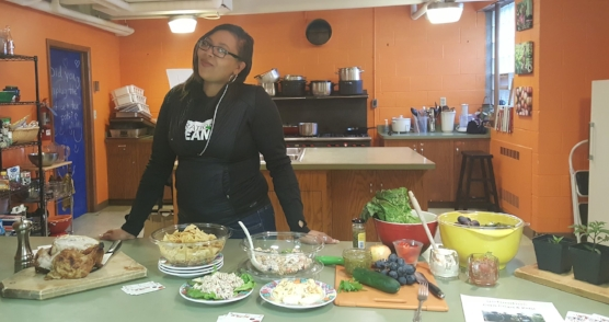 Stevey aka That Salsa lady is our CEO. Here she is showing off her demo skills at a local organization.