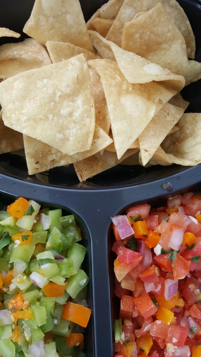Pictured Margarita salsa (l) and urban garden salsa (r)