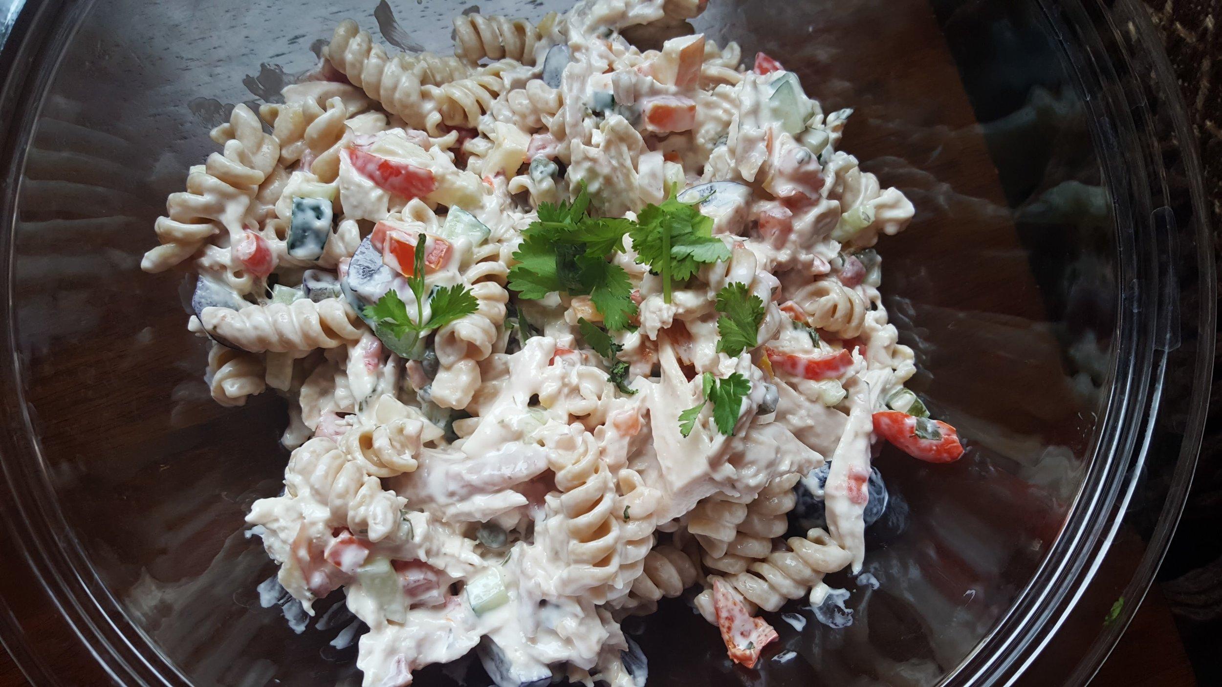 Chicken salad made with Salsa, Rotisserie Chicken & Mayo