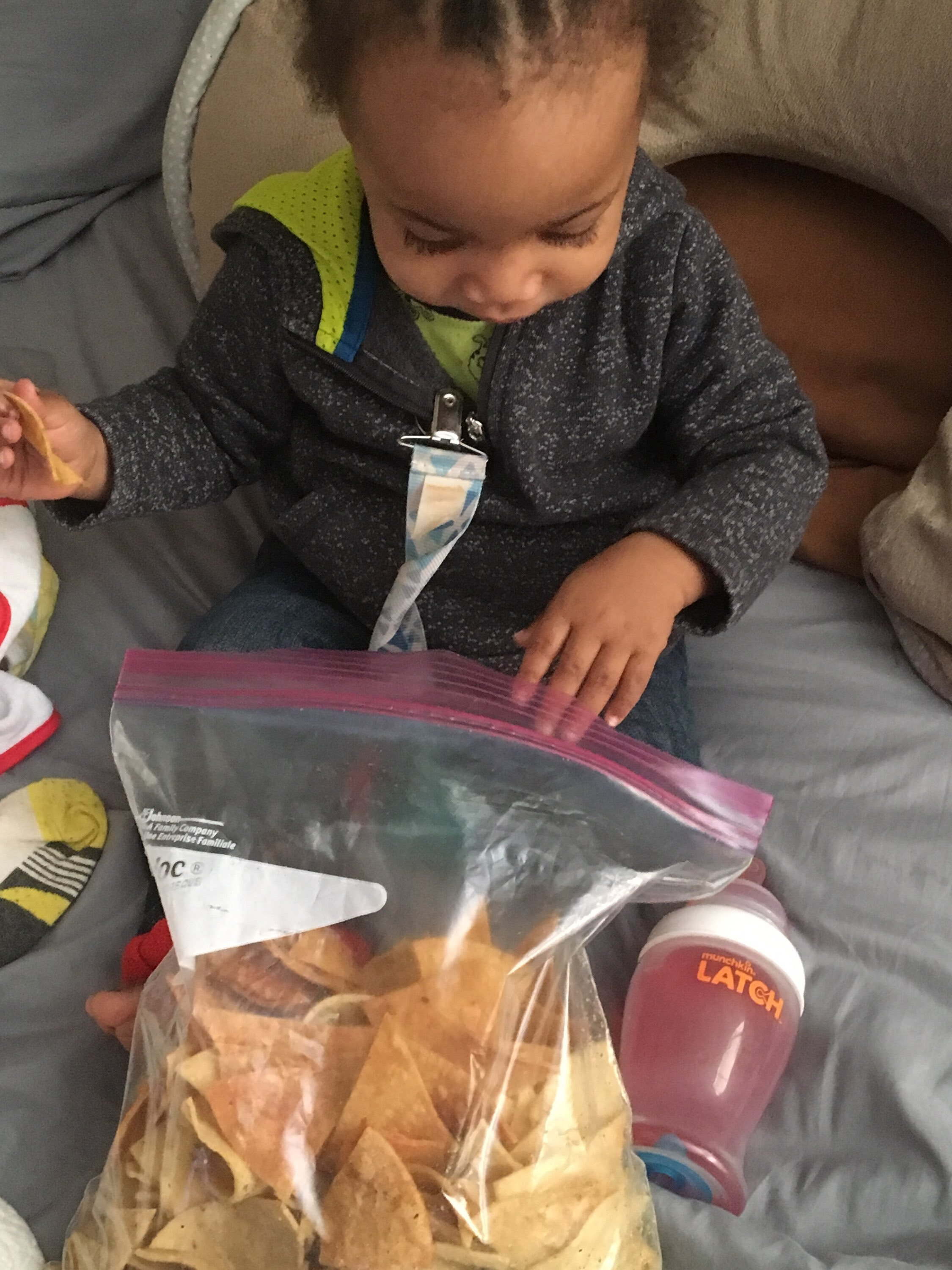 Thor loves Granny's aka the chip chick's, Chips so much he forgets about his sippy cup!
