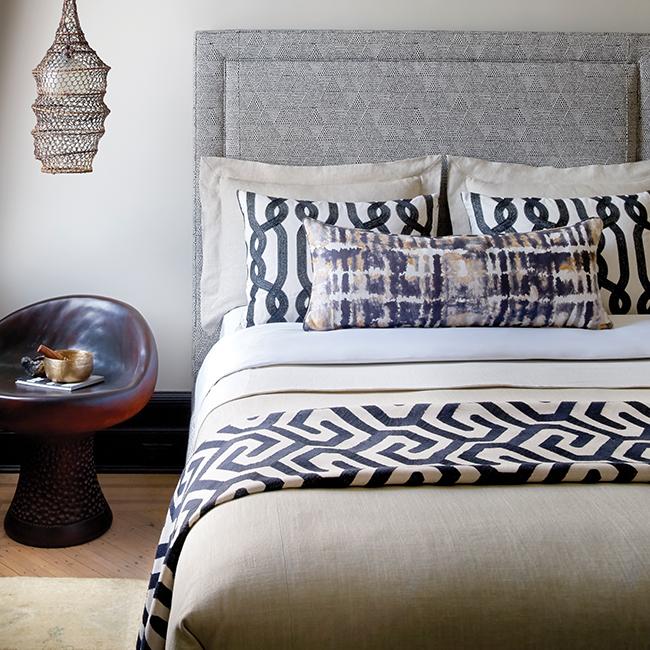 Upholstery & bedding are Robert Allen Design fabrics