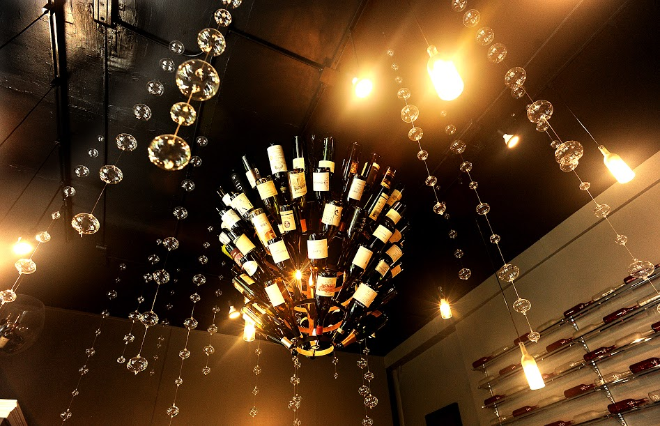 Kinzie Chophouse Steak 25 Years Anniversary Steakhouse Wine Huntress Wine Chandelier for Large Group Dining.jpg