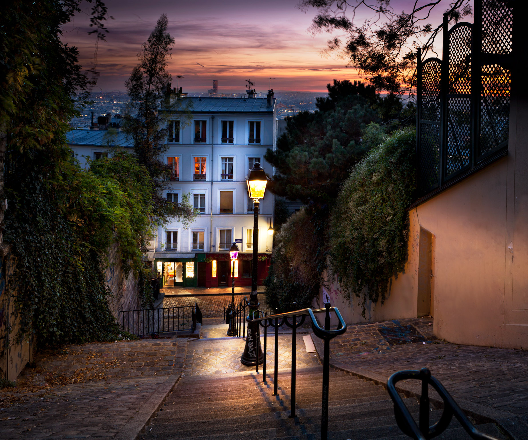 My favorite stairs in Montmartre, I came back many times to this spot to get the right sunset.